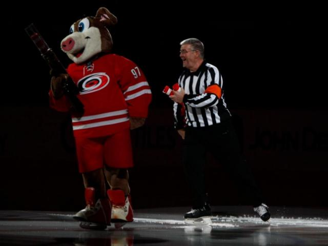 Stormy takes the ice before the start of the game. The Hurricanes hosted the Ducks on November 15, 2013  at the PNC Center in Raleigh, North Carolina.<br/>Photographer: Jerome Carpenter