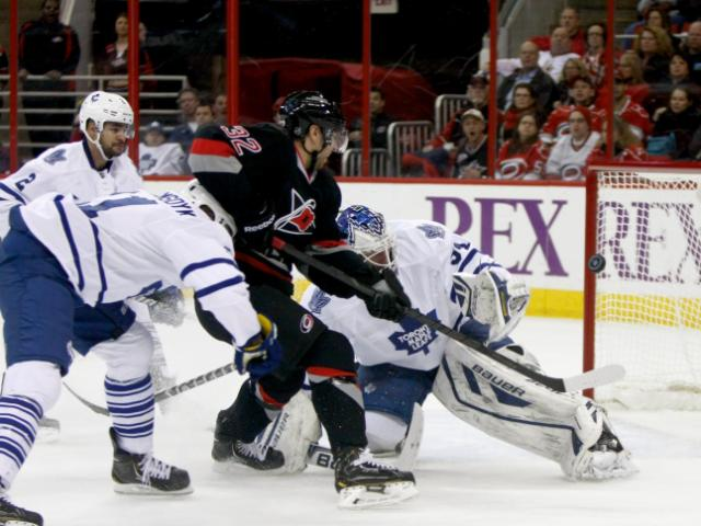 Zach Boychuk (32) in front of the net. The Hurricanes defeated the Maple Leafs 6-1 on January 9, 2014 at the PNC Arena in Raleigh, North Carolina. Photo by: Jerome Carpenter <br/>Photographer: Jerome  Carpenter