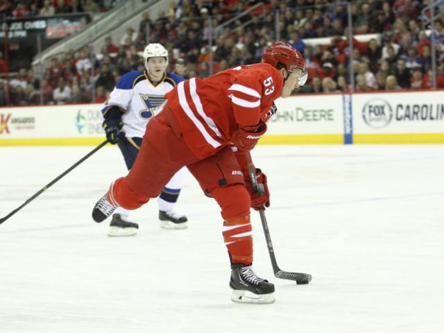 Carolina Hurricanes left wing Jeff Skinner (53) winds up for a shot on goal. Carolina Hurricanes host the St. Louis Blues at the PNC Arena on Friday January 31, 2014. The Hurricanes played a solid game  and prevailed with a 3 to 1 victory. (Chris Baird / WRAL Contributor).