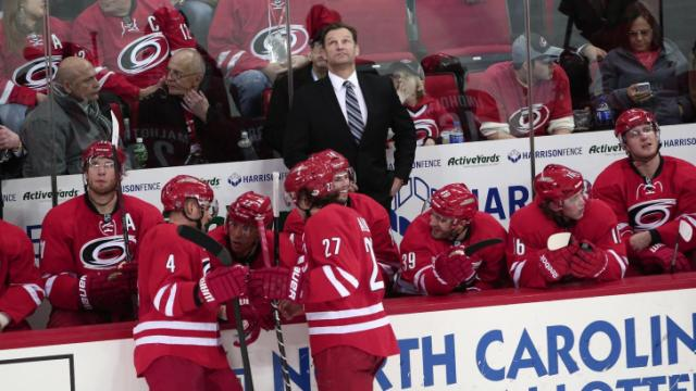 Carolina Hurricanes head coach Kirk Muller. Carolina Hurricanes host the St. Louis Blues at PNC Arena on Friday January 31, 2014. The Hurricanes played a solid game and ended with an Alex Semin open net goal for a 3 to 1 victory. (Chris Baird / WRAL Contributor)