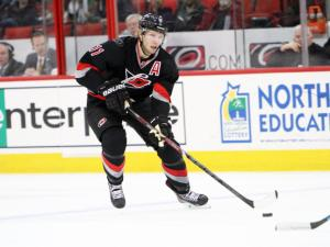 Carolina's Jordan Staal during the Hurricanes' game versus the Florida Panthers on Friday, February 7, 2014 in Raleigh, NC.  The Hurricanes defeated the Panthers 5-1.  (Photo by Jack Morton)