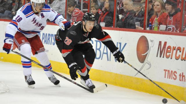 Alexander Semin (28) brings the puck behind the goal during action at the PNC Arena between the Carolina Hurricanes and the New York Rangers on March 7, 2014 in Raleigh, NC. (Will Bratton/WRAL contributor)