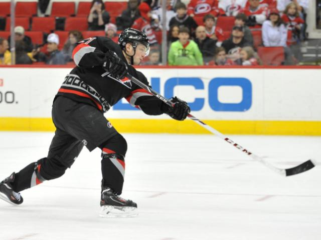 Drayson Bowman (21) fires a shot during action at the PNC Arena between the Carolina Hurricanes and the New York Rangers on March 7, 2014 in Raleigh, NC. (Will Bratton/WRAL contributor)