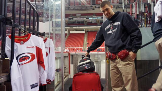 Doug Bennett, an assistant athletic trainer for the Carolina Hurricanes, is at every practice and game, and his kit of medical supplies isn't far away.