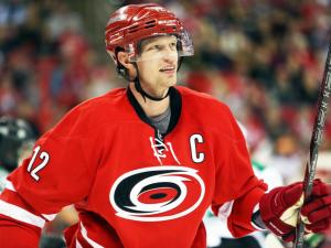 Carolina's Eric Staal during the Hurricanes' game versus Dallas on Thursday, April 3, 2014 in Raleigh, NC.  The Hurricanes defeated the Stars 4-1.  (Photo by Jack Morton)