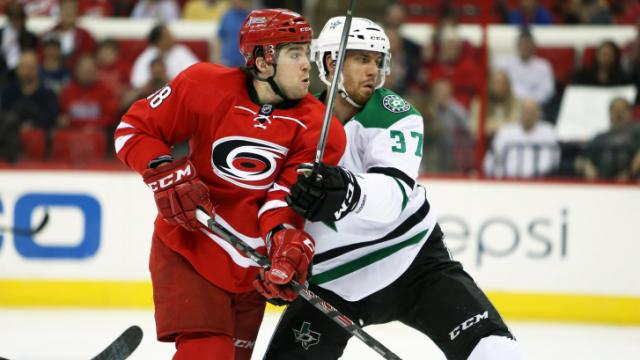 Carolina's Chris Terry during the Hurricanes' game versus Dallas on Thursday, April 3, 2014 in Raleigh, NC.  The Hurricanes defeated the Stars 4-1.  (Photo by Jack Morton)
