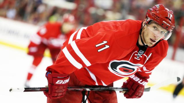 Carolina's Jordan Staal during the Hurricanes' game versus Dallas on Thursday, April 3, 2014 in Raleigh, NC.  The Hurricanes defeated the Stars 4-1.  (Photo by Jack Morton)
