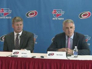 Ron Francis introduces Bill Peters as the next head coach of the Carolina Hurricanes on Friday, June 20, 2014.
