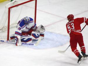 Rangers rally to top Canes in shootout, 3-2