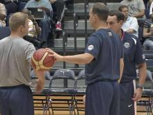 Duke assistants (from left) Steve Wojciechowski and Chris Collins join boss Mike Krzyzewski on the staff for Team USA.
