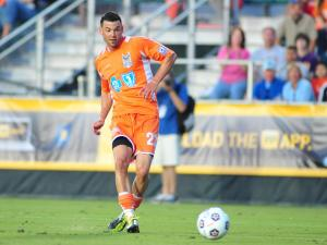 Nick Zimmerman (23) during the Carolina RailHawks vs. Atlanta Silverbacks NASL soccer game in Cary, N.C. Saturday April 14, 2012.