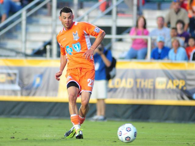Nick Zimmerman (23) during the Carolina RailHawks vs. Atlanta Silverbacks NASL soccer game in Cary, N.C. Saturday April 14, 2012.<br/>Photographer: Will Bratton