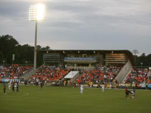 The Carolina RailHawks scored twice in the second half to upset the L.A. Galaxy of the MLS at WakeMed Soccer Park Tuesday in front of a sell-out crowd during the Lamar Hunt U.S. Open Cup.