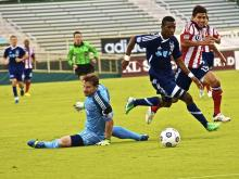 The Carolina RailHawks advanced to the quarterfinals of the Lamar Hunt U.S. Open Cup Wednesday with a 3-1 extra time victory over Chivas USA.