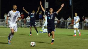 RailHawks celebrate 1-0 win over L.A. Galaxy