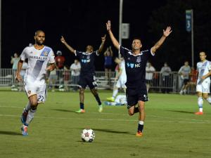 RailHawks celebrate 1-0 win over L.A. Galaxy