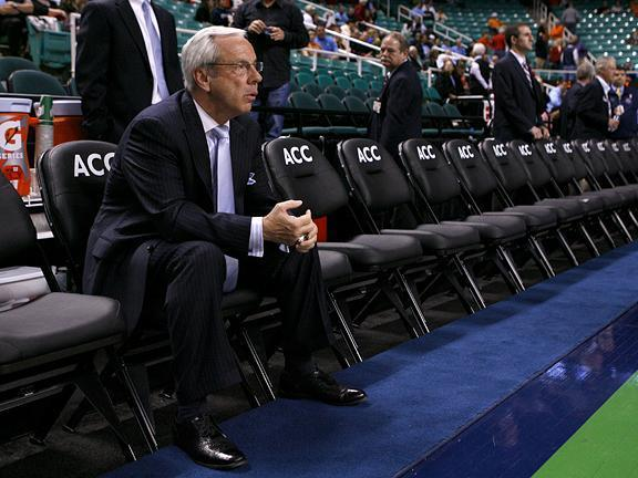 North Carolina head coach Roy Williams sits on the Tar Heel bench before their first round game against Georgia Tech on March 11, 2010.<br/>Photographer: Jeff Reeves