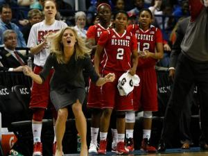 Coach Kellie Harper wants her team to make a defensive stop during the second quarterfinal game of the ACC Women's Basketball Tournament in Greensboro, N.C., Friday, March 8, 2013.