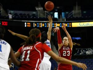 Marissa Kastanek (23) shoots a jumper during the second quarterfinal game of the ACC Women's Basketball Tournament in Greensboro, N.C., Friday, March 8, 2013.