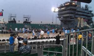 UNC practices on the USS Carl Vinson the night before the Carrier Classic.