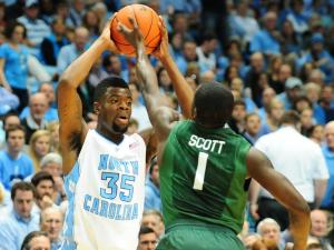 Reggie Bullock (35) looks to pass during the North Carolina Tar Heels vs. Miami Hurricanes NCAA basketball game, Thursday, January 10, 2013 in Chapel Hill, NC.
