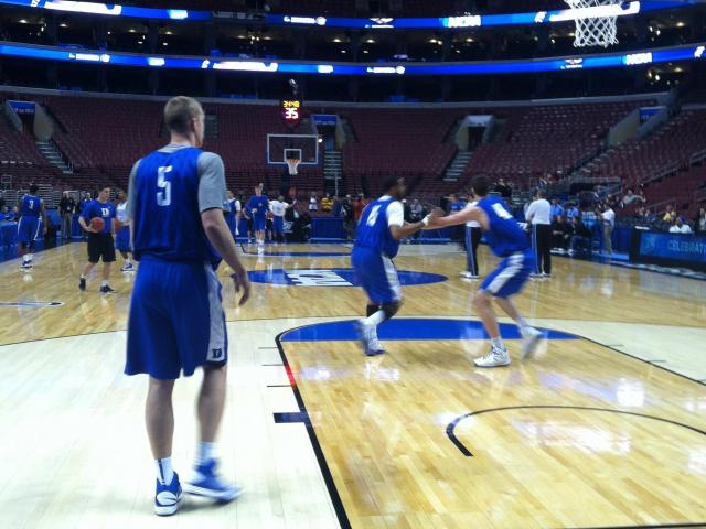 Duke practice in Philadelphia<br/>Photographer: Erin Summers