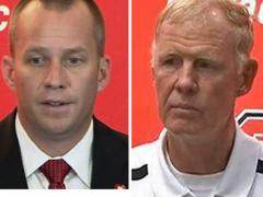NC State football coaches Dave Doeren and Tom O'Brien