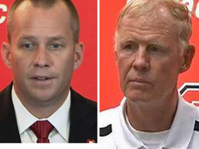 NC State football coach Dave Doeren, left, hopes to avoid the fate of his predecessor, Tom O'Brien and the majority of ACC coaches.