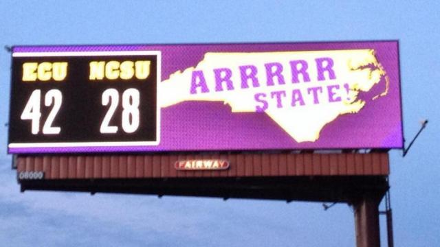 Billboard following East Carolina's win over NC State.