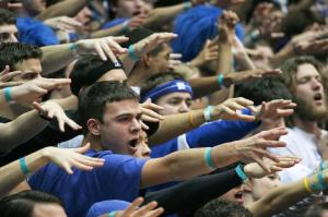Before the game, the Cameron Crazies are already working to intimidate their opposition, the Clemson Tigers.
