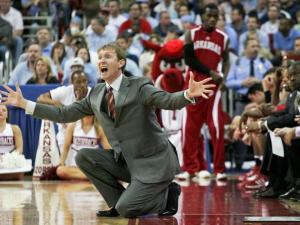 Arkansas head coach John Pelphrey shouts toward the court at the RBC Center in Raleigh during his team's  second-round NCAA tournament game against UNC on March 23, 2008.
