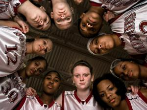 The members of the Wakefield High School girls basketball team pose for a portrait before their first round state playoff game against Smithfield-Selma in Raleigh, North Carolina.