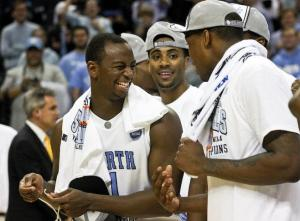 UNC celebrates their victory over Louisville in the Regional Finals of the NCAA Tournament on March 29, 2008. This win in Charlotte grants the Tar Heels the opportunity to play in the Final Four in San Antonio next weekend.