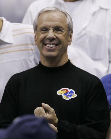 UNC coach Roy Williams was in the stands, and wearing a Kansas shirt, at the NCAA championship game.
