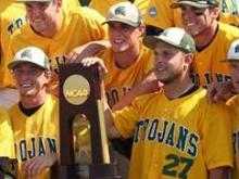 The Mount Olive Trojans captured their first-ever national championship in any sport with a 6-2 victory over Ouachita Baptist in the Championship Game of the 2008 NCAA Division II Baseball National Finals at Sauget, Ill., on Saturday, May 31, 2008. (Photo courtesy of www.moc.edu)