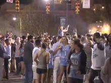 UNC fans celebrate on Franklin Street after Final Four win