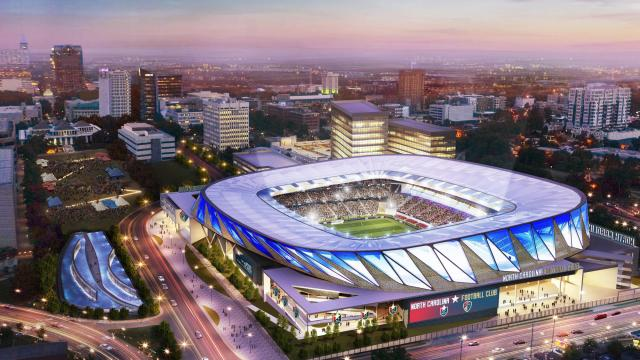 A rendering of the design of the proposed mixed-use stadium complex in downtown Raleigh that the NC Football Club is pitching for an MLS expansion team (Courtesy of Gensler).