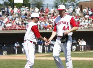 Rob Chamra (44) is congratulated after pitching 5 and 1/3 innings during the UNC vs. NC State baseball game on April 17th, 2011 at Doak Field in Raleigh, North Carolina.