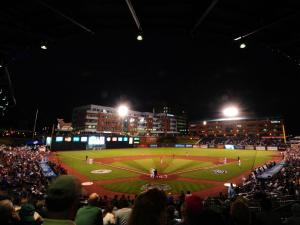 An overall view of the Durham Bulls Athletic Park during the Triple-A National Championship game between the Pawtucket Red Sox and the Reno Aces, Tuesday, September 18, 2012 at the DBAP in Durham, NC.