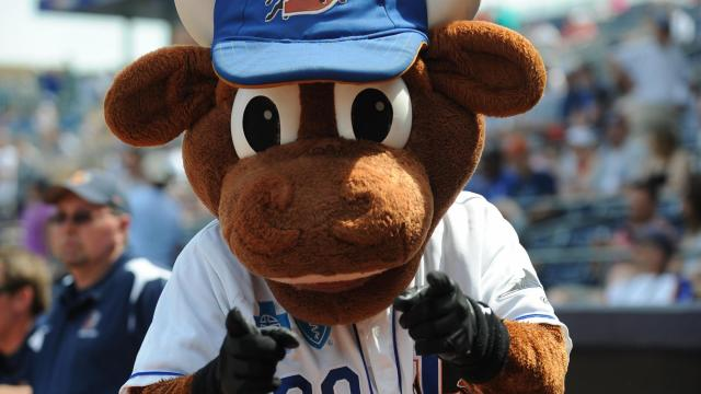 Wool E. Bull was excited for baseball weather during the Spring Training Showdown between the Durham Bulls and Tampa Bay Rays, Saturday, April 3, 2010 at Durham Bulls Athletic Park.  (Photo by: Will Bratton)