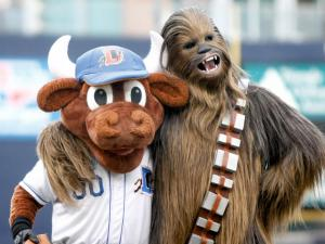 Chewie and Wool E Bull pose before the Red Sox vs. Bulls game on May 18, 2012 in Durham, NC.