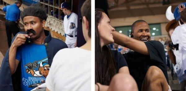Left: Jatovi dressed for Star Wars Night, May 11, 2013. Right: Jatovi watches the game with fans. Photos by Kate Joyce.