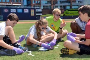 Summer Science Sleuths at Duke participate in Science at the Ballpark at the DBAP on June 21, 2013.  Photo by Chris Adamczyk.