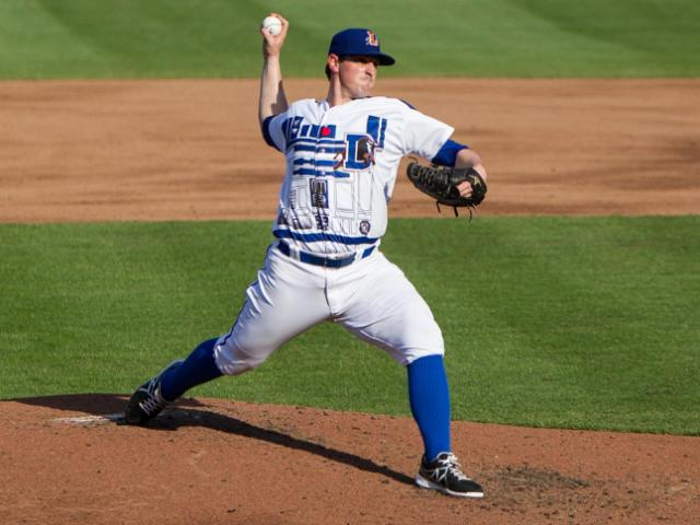 Doug Mathis pitches in his R2-D2 uniform.<br/>Photographer: Jed Gammon