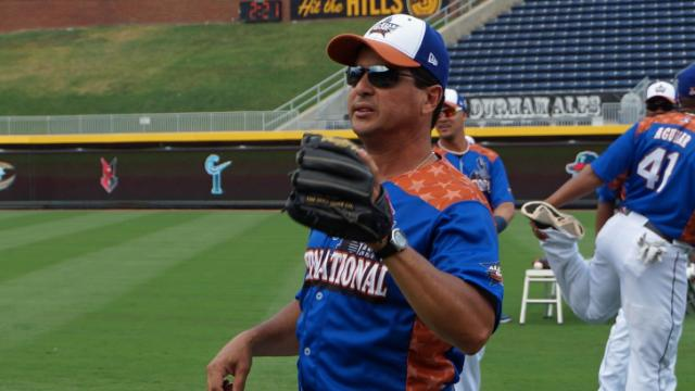 Durham Bulls and International League All-Star team manager Charlie Montoyo at practice Tuesday, July 15, 2014 at the Durham Bulls Athletic Park.