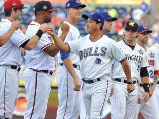 Durham Bulls Manager Charlie Montoyo before Triple-A All Star Game action at the Durham Bulls Athletic Park on July 16, 2014 in Durham, NC. (Will Bratton/WRAL contributor)