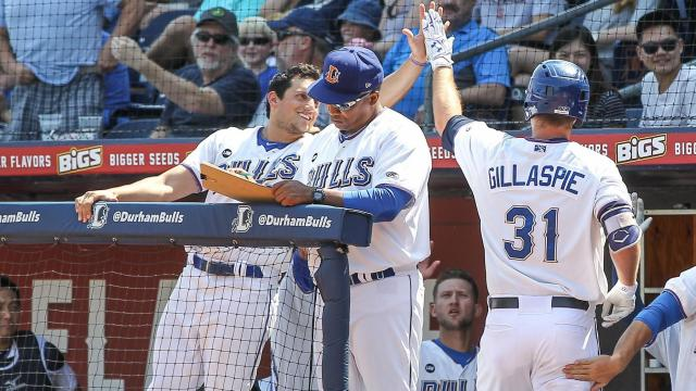 Casey Gillaspie (31) of the Durham Bulls. The Durham Bulls close their 2016 season on Labor Day September 5 in front of a 9500 plus crowd. The Norfolk Tide win the game by a score of 7 to 1. (Chris Baird / WRAL Contributor).