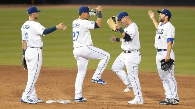 The Durham Bulls host the Charlotte Knights on Monday April 10, 2017 for Opening Day. The Bulls started the home season with a bang winning the game 7-4. (Chris Baird / WRAL Contributor).