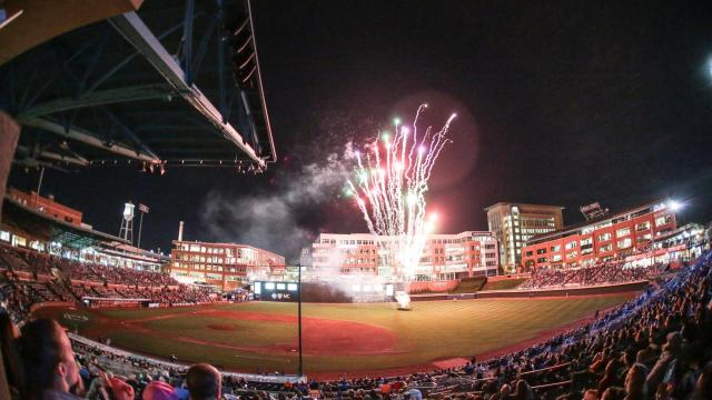 The Durham Bulls open the home season with a bang. The Durham Bulls host the Charlotte Knights on Monday April 10, 2017 for Opening Day. The Bulls started the home season with a bang winning the game 7-4. (Chris Baird / WRAL Contributor).