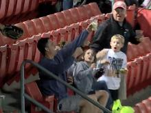 Mudcats fan catches foul ball in beer